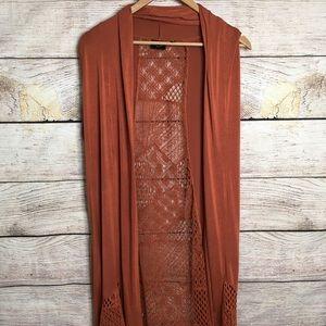 Lavanya woman rust sleeveless draped cardigan